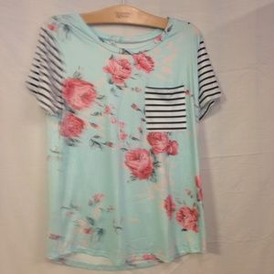 Tops - Women's Summer Floral Print Striped Short Sleeve